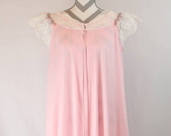 Vintage 1960's Miss Elaine Embroidered Sheer Nightgown and Robe Set Pink with White Lace Trim