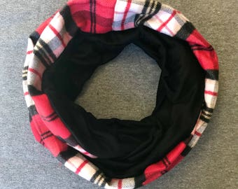 Red and White Plaid Flannel and Black Jersey Infinity Scarf