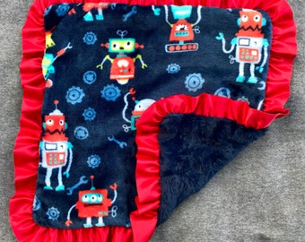 Navy and Red Robot Minky Blanket