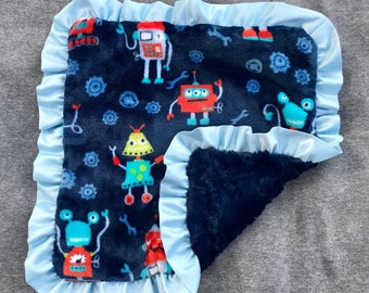 Navy and Blue Robot Minky Blanket