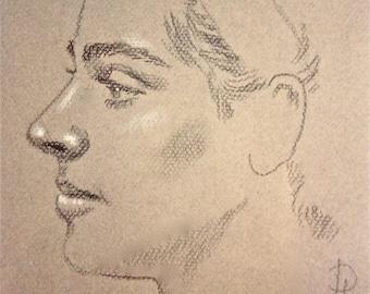 Charcoal portrait sketch