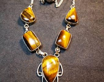 Tigerseye Necklace Sterling Silver Gemstone