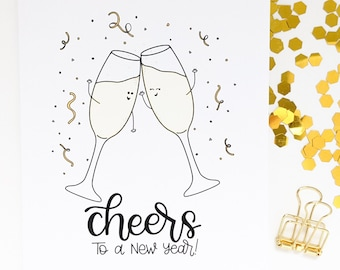 Cheers To A New Year Card // New Year Card // 2022 Card // Happy New Year // Holiday Card // Holiday Greetings // Punny Cards