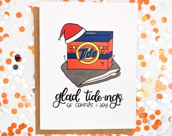 Glad Tide-ings of Comfort and Joy Card // Glad Tidings // Comfort & Joy // Christmas Cards // Holiday Cards // Christmas Puns // Punny Cards