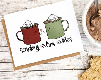 Sending Warm Wishes Card // Christmas Cards // Holiday Cards // Winter Cards // Hot Chocolate Cards // Punny Cards