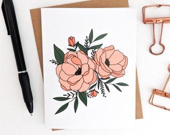 Floral Blank Card // Blank Cards // Pretty Blank Cards // Flower Blank Card // Sympathy Card // Beautiful Flowers