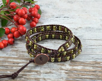 Beaded Wrap Bracelet, Boho Wrap Bracelet, Leather Wrap Bracelet, Beaded Leather Wrap Bracelet,  Leather Wrap, 3 Leather Wrap