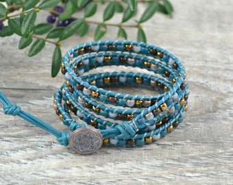 Beaded Wrap Bracelet, Boho Wrap Bracelet, Leather Wrap Bracelet, Beaded Leather Wrap Bracelet,  Leather Wrap, 4 x Leather Wrap