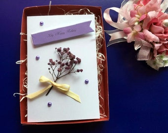Customised Personalised Handmade Preserved Flower Birthday Card Mum Wife Daughter with Gift Box C241