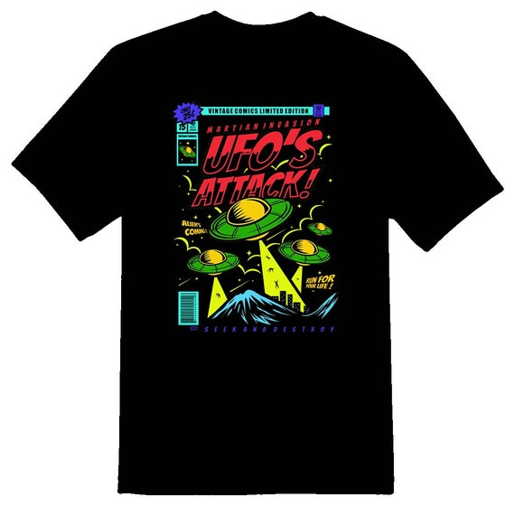 Ufos attack classic comic color Tee Shirt 08162017