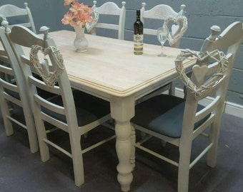 Beautiful 6ft x 3ft Shabby Chic Table and Chair Set