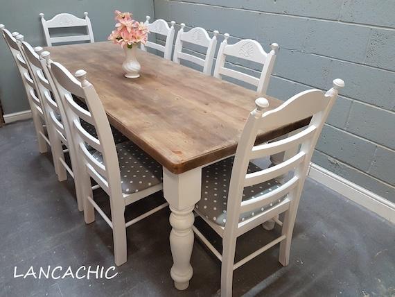 Table Et Chaises De 240 Cm X 89 Crme Blanc Gris