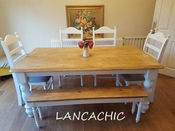 Gorgeous 6ft Table And Bench Chair Set Bespoke Etsy