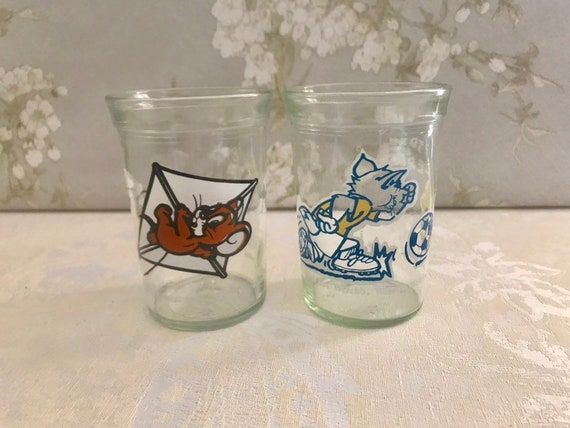 Tom and Jerry Glass Welch Jelly Jars Set of 2, Vintage Jelly Jars juice  glasses, Tom and Jerry jelly glass, Tom and Jerry jelly jar