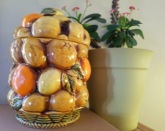 Vintage inarco ceramic Cookie Jar E3828 kitsch fruit cookie jar storms and pears