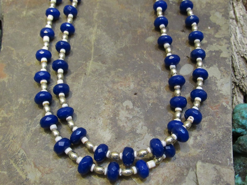 Navajo Made 2-Strand Apatite Clam Shell Necklace #229 by Donavan Yazzie
