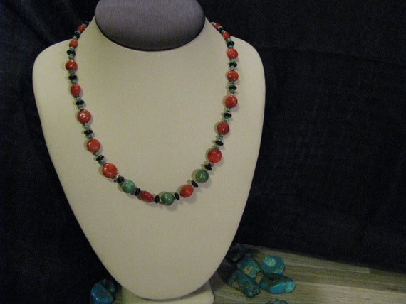Onyx /& Turquoise Necklace by Donavan Yazzie #140 Spiny Oyster Shell Navajo Made Coral