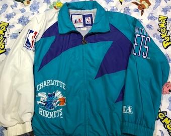 92b906ef27f Vintage Logo Athletic Charlotte Hornets Sharktooth Windbreaker Jacket Mens  Large