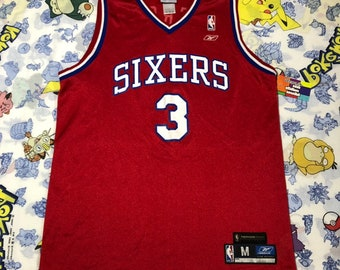 9a7916a62 Vintage Allen Iverson Philadelphia 76ers Throwback Jersey NBA Size Mens  Medium