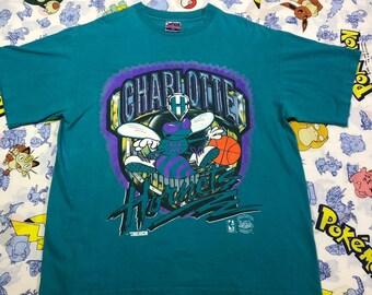 3f45d0ebbef Vintage charlotte Hornets Big Logo Shirt 90s Retro Size Mens X Large