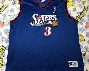 22dace87252 Vintage Allen Iverson Philadelphia 76ers Throwback Jersey NBA Size Mens 48  X-Large
