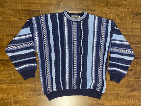Vintage Tundra Coogi Style 3D Knit Grandpa Cardiga