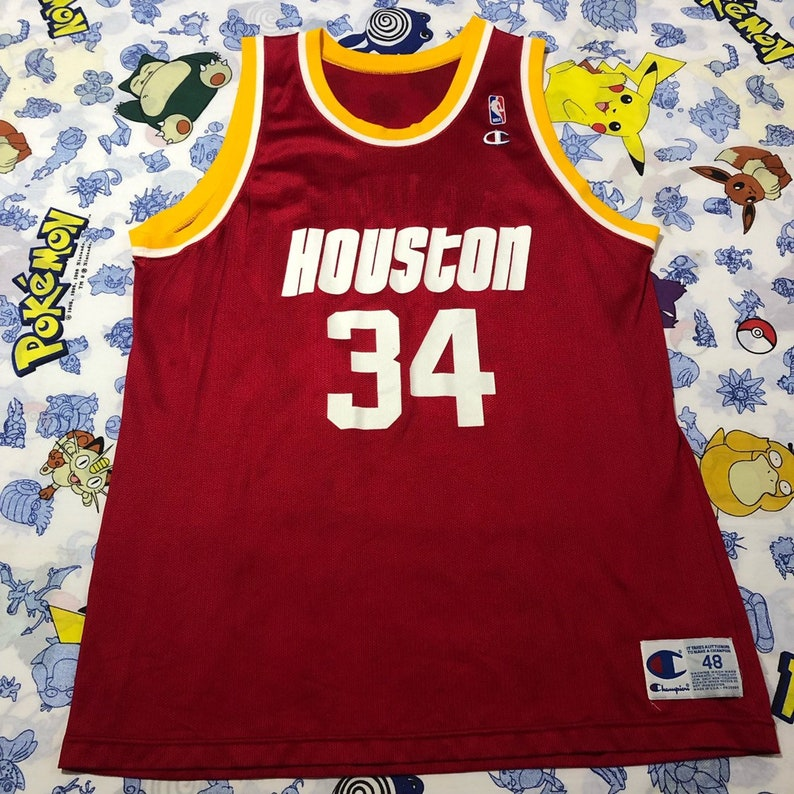 newest 05b49 20756 Vintage NBA Champion Hakeem Olajuwon Houston Rockets Jersey Size 48 XL