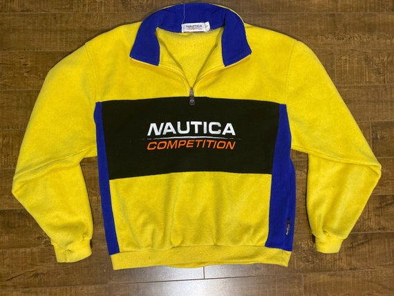 Vintage 90s Nautica Competition Fleece Yellow Size