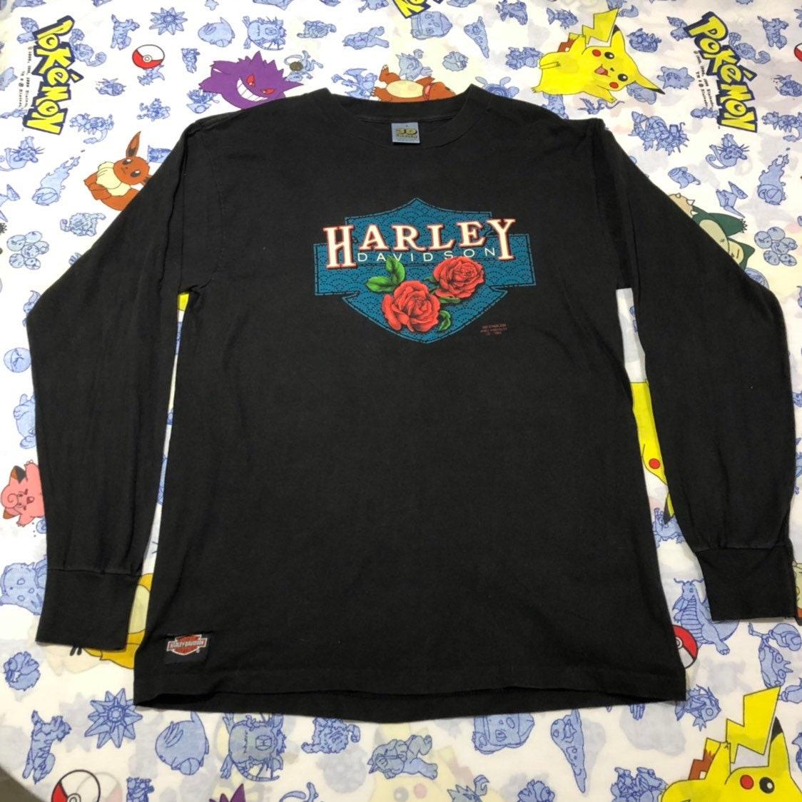 Vintage Harley Fort Davidson manches longues emblème 3D Fort Harley Worth  Texas grande taille d1ee21 a0858505e77