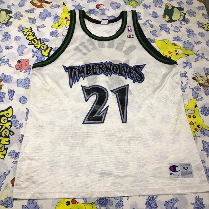 new products 497b4 96e29 Vintage Champion Minnesota Timberwolves Kevin Garnett NBA Throwback Size  XXL 52