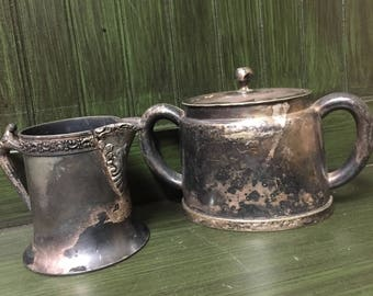 Reed and Barton Silver Soldered Vintage Metal China Set