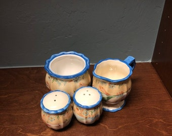 Vintage Porcelain Table Set (Salt and Pepper Shakers, Creamer, Coffee Cup) Hand-Painted