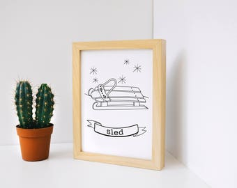 Sledding Story Card, Unique Christmas Present, 4x6 Print