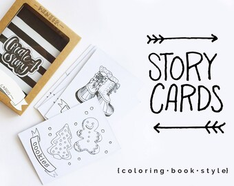 Hygge Story Cards Personalized, storytelling, holiday gift, coloring book