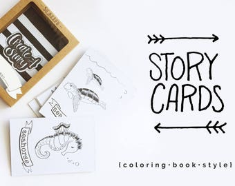 Sea Life Story Cards Personalized, storytelling, Fathers Day Gift, coloring book