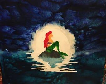 Mermaid Princess Melted Crayon Art Gift Girls Room decor