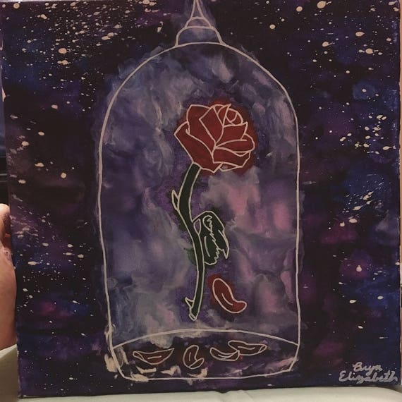 Beauty Rose Belle Night Sky Beast Melted Crayon Art Etsy