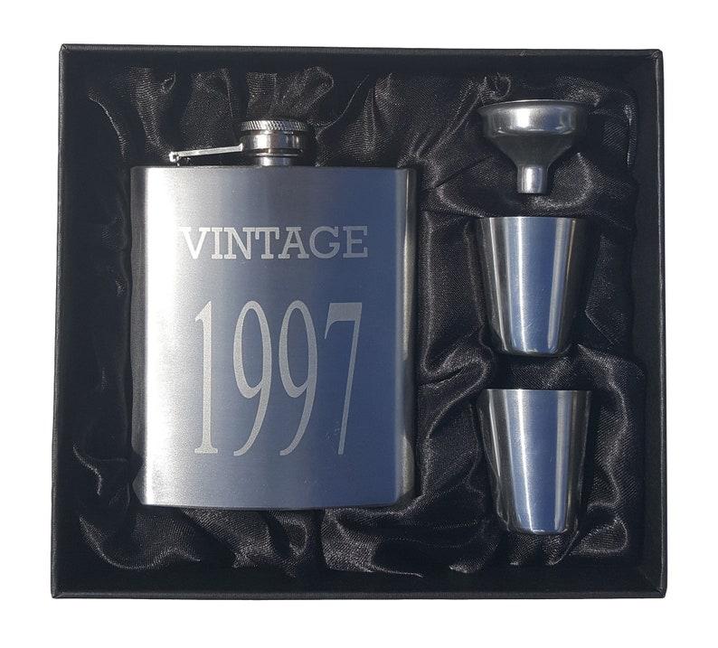Perfect 21st Birthday Present Vintage 1997 Flask Gift Set