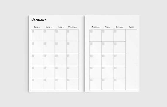 a5 planner inserts undated monthly planner printable pages etsy