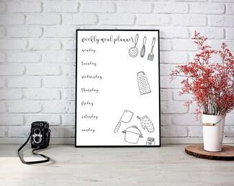 Printable Weekly Meal Planner, A4 Weekly planner, Printable Planner 2017, Food, Weekly Planner, Meals, Diet,