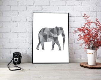 Elephant Triangle Wall Print