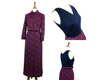 white boxy blazer jacket set  button up Vintage 1970s small medium My Latest Leslie Fay sleeveless black maxi dress