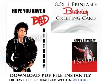 Michael Jackson Printable Digital Birthday Card