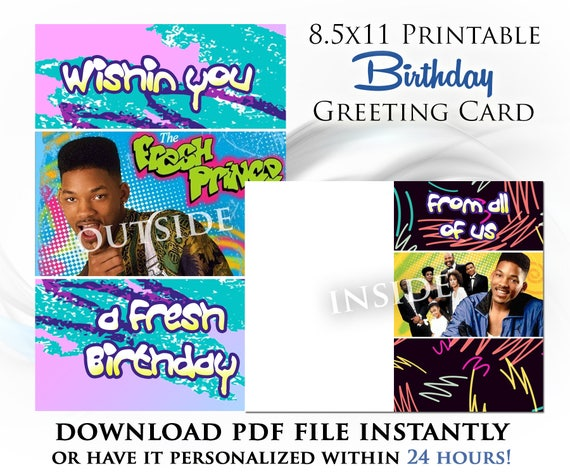 Fresh Prince Of Bel Air Printable Digital Birthday Card Etsy