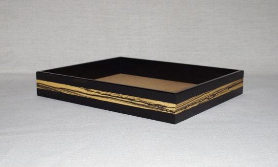 Handmade ebony wood valet tray