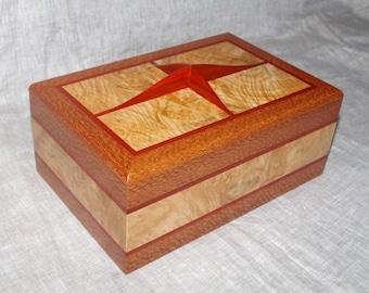 Handmade wooden box, Leopard wood, curly maple, padauk