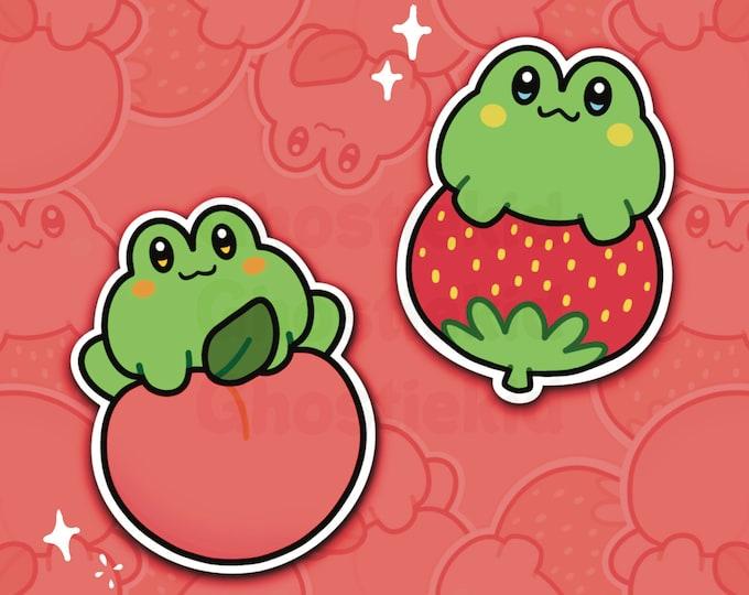 Fruit Frog Stickers Vinyl Cute Peach Strawberry