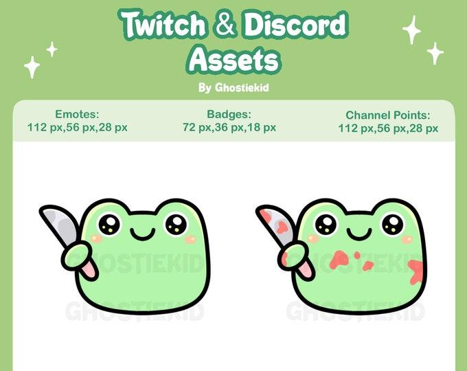 Frog Emotes Badges for Twitch Youtube Discord Funny Meme Frog Knife