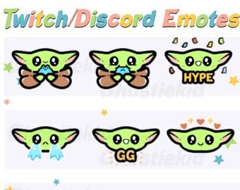 Baby Yoda Twitch Discord Emotes Badges Streamer Art Digital Assets Affordable