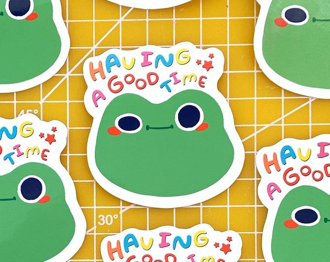 Good Time Frog Vinyl Sticker